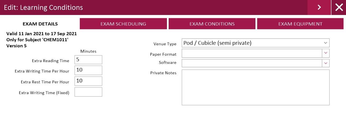 Assist Custom Exam Conditions